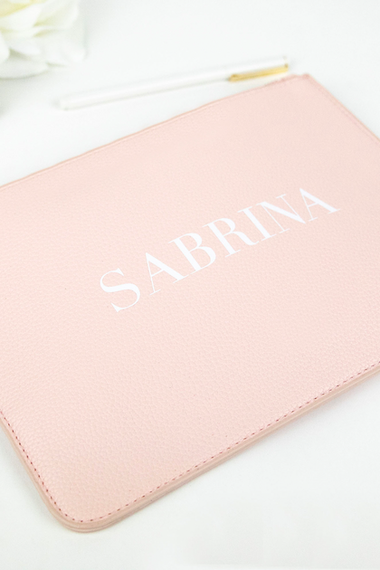 Personalized Print Vegan Leather Clutch