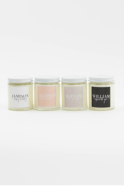 Personalized Glass Jar Soy Candle - 6oz