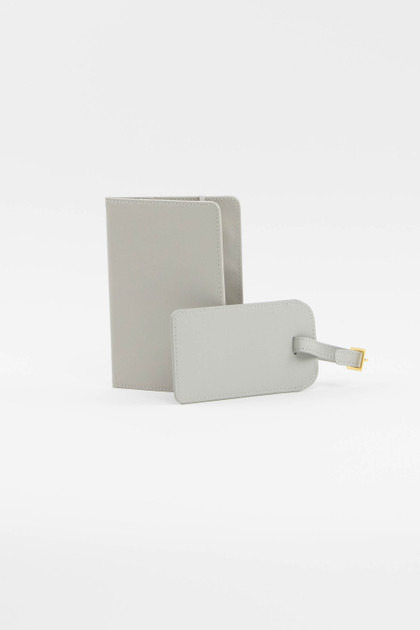 Light Gray Luggage Tag + Passport Holder