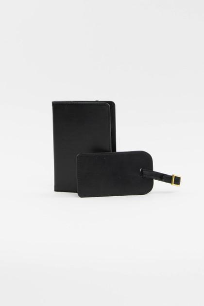 Black Luggage Tag + Passport Holder