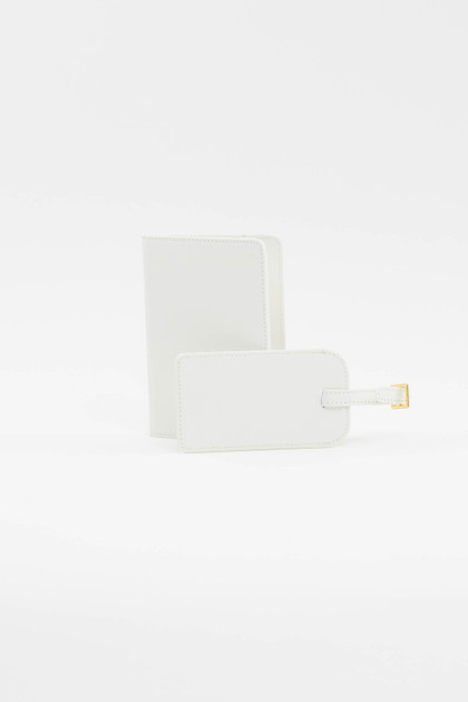 White Luggage Tag + Passport Holder