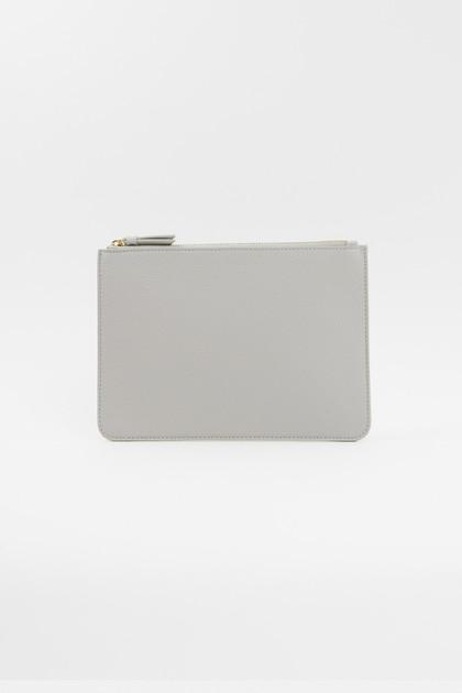 Vegan Leather Clutch - Light Gray