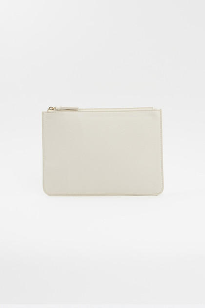 Vegan Leather Clutch - Créme