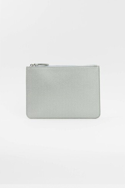 Vegan Leather Clutch - Silver