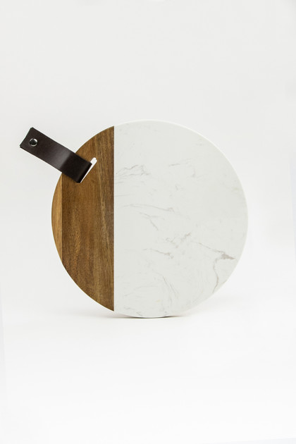 Round Marble and Acacia Cheese Board