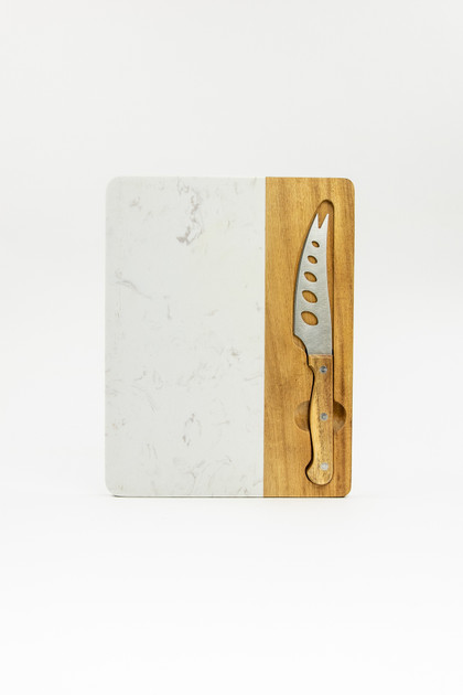 Rectangle Marble and Acacia Cheese Board with Knife