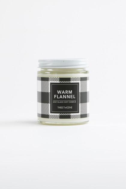 Warm Flannel Glass Jar Soy Candle - 6oz