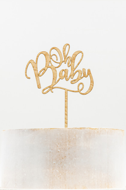 Wooden Cake Topper - Oh Baby