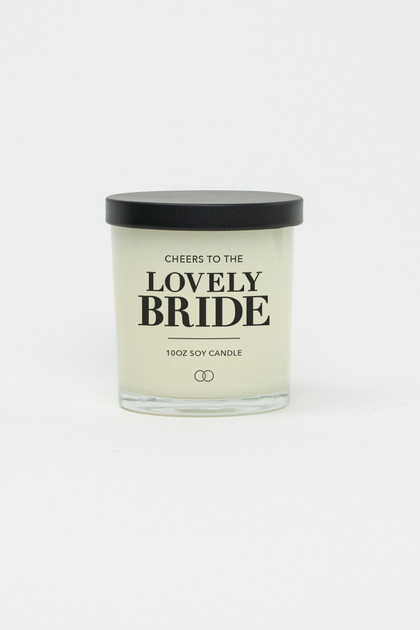 Celebration Glass Soy Candle - Lovely Bride (Black)
