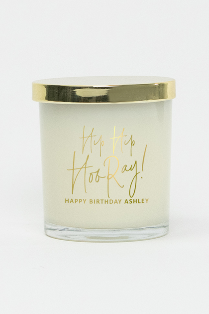 Hip Hip Hooray Script Glass Soy Candle (Gold)