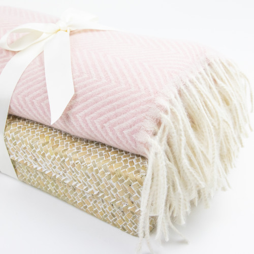 Herringbone Oversized Pashmina - Blush Pink