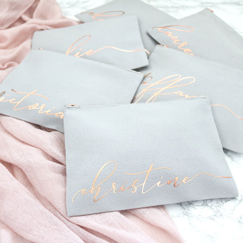 Personalized Monogram Makeup Bag - Rose Gold Zip