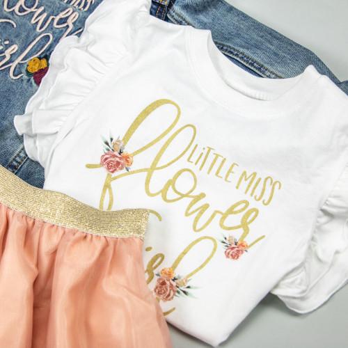 Little Miss Flower Girl Ruffle Tee + Tulle Skirt set
