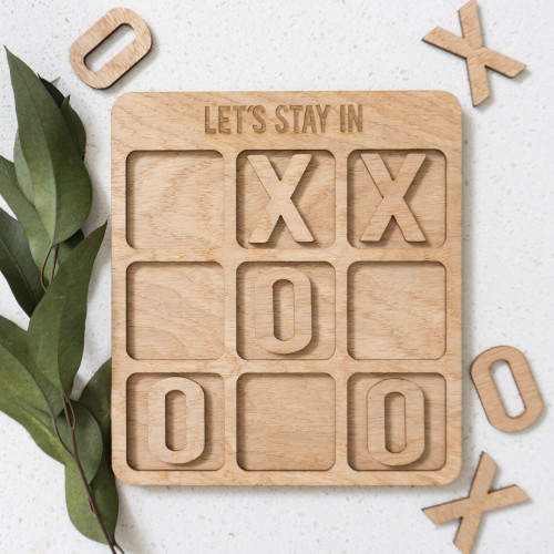 Let's Stay In Wooden Tic Tac Toe Board