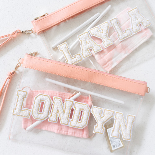 Clear Travel Bag + Chenille Letter Patches