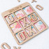 Let's Stay In Wooden Tic Tac Toe Board - Floral