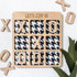 Let's Stay In Wooden Tic Tac Toe Board - Houndstooth