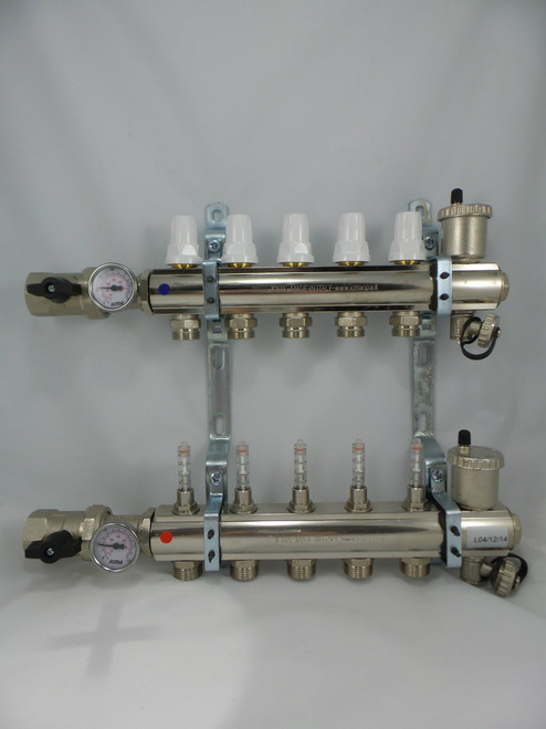 5 Outlet Set, Supply Flow Indicators/ Return Valves