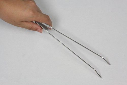 15IN Stainless Steel Aquarium Tweezers - Curve Type - Mirror Surface