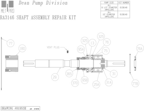 Dean RA3146 Shaft Kit 10""