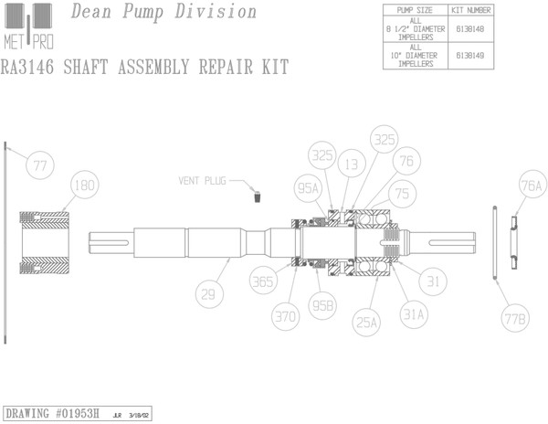 Dean RA3146 Shaft Kit 8.5""