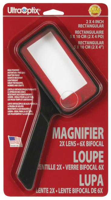 """2"""" x 4"""" Rectangular Magnifier, 2x / 6x Power"""