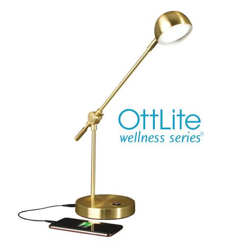 OttLite Direct LED Desk Lamp, Brass