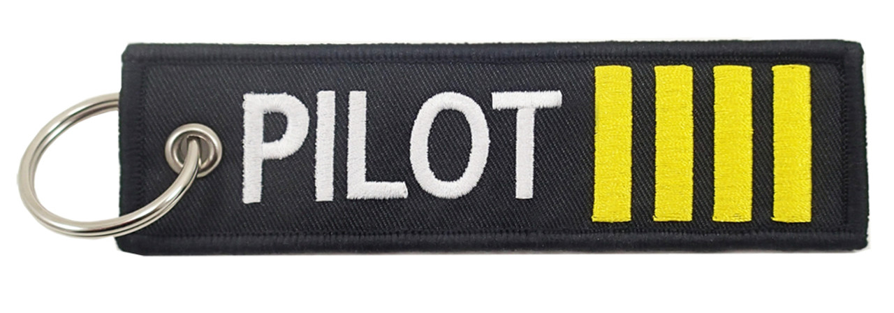 Captain 4 Stripe Embroidered Pilot Keychain