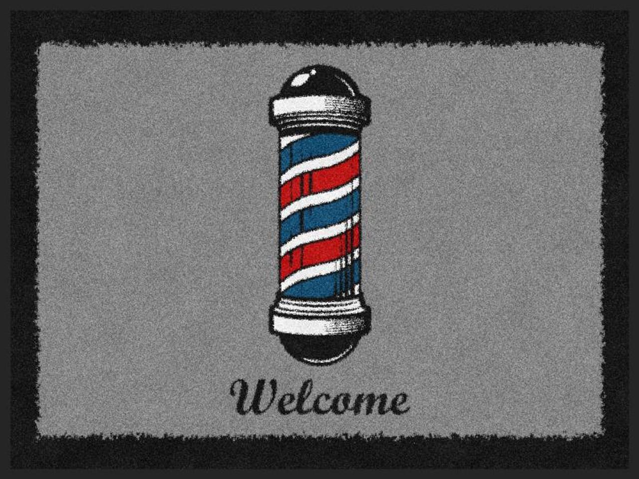 Welcome Mat - Barber Pole Horizontal - NEW!