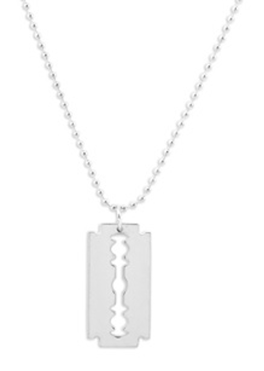 Necklace/Key Ring Razor Blade Silver