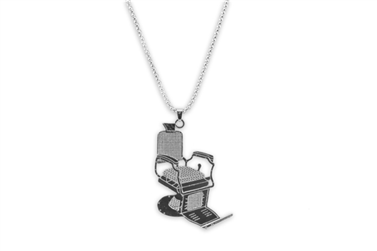 Necklace/Key Ring - Silver Barber Chair - 2 Sizes