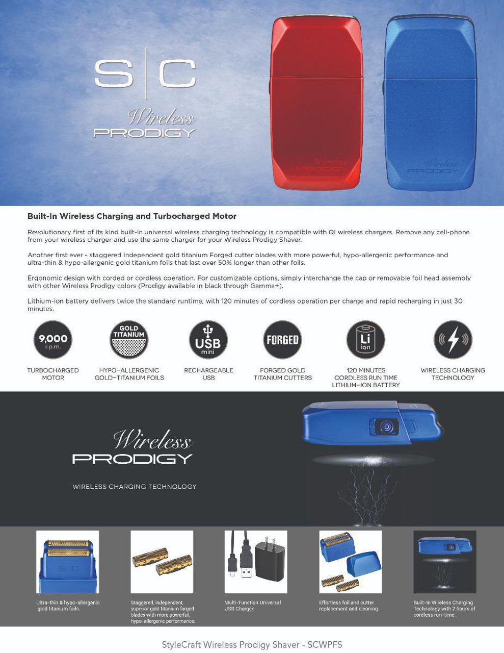 Stylecraft Prodigy Wireless Foil Shaver - Shiny Metallic Red