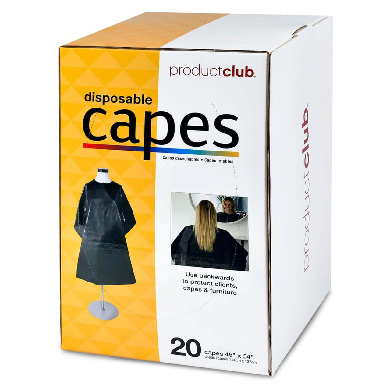 Disposable Capes - Black Plastic - 20 Pack