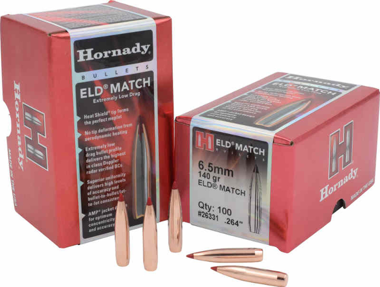 Hornady ELD-Match Bullets 6 5mm Caliber  264 Diameter 140 Grain, Spitzer,  12 pack