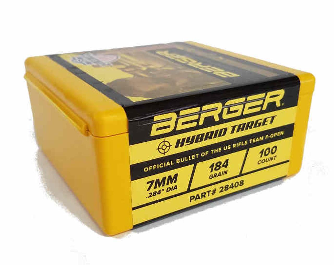 Berger F-Open Hybrid Target Bullets 7mm Caliber  284 Diameter 184 Grain,  Spitzer, 12 pack