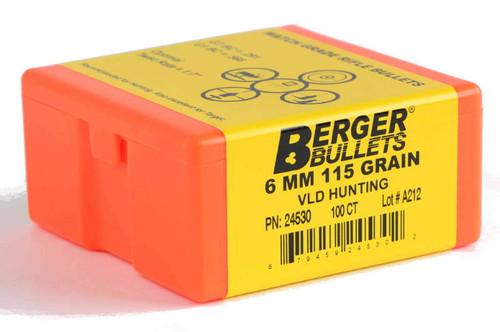 Berger VLD Hunting Bullets 6mm Caliber .243 Diameter 115 Grain