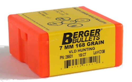 Berger VLD Hunting Bullets 7mm Caliber .284 Diameter 168 Grain