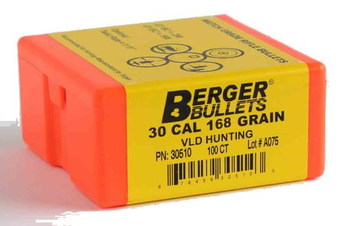 Berger VLD Hunting Bullets 30 Caliber .308 Diameter 168 Grain