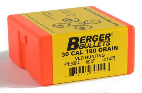 Berger VLD Hunting Bullets 30 Caliber .308 Diameter 190 Grain