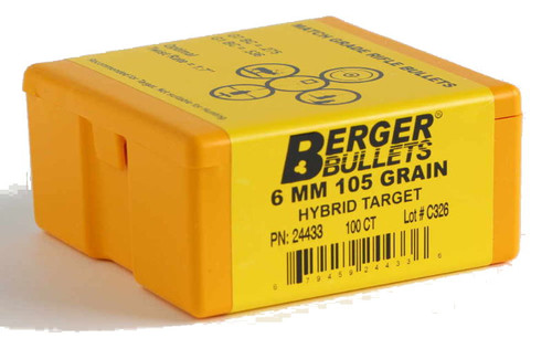 Berger Hybrid Target Bullets 6mm Caliber .243 Diameter 105 Grain