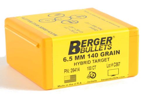 Berger Hybrid Target Bullets 6.5mm Caliber .264 Diameter 140 Grain