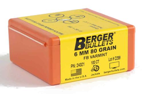 Berger Match Varmint Bullets 6mm Caliber .243 Diameter 80 Grain