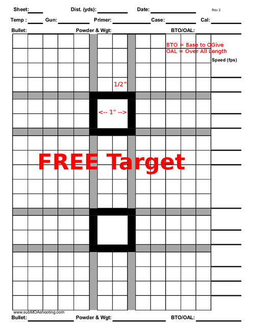 "Printable 8.5""x11"" Double Box Target (Free Download or free with order)"