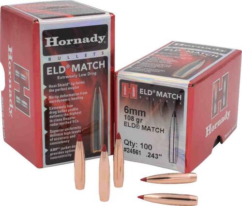 Hornady ELD-Match Bullets 6mm Caliber .243 Diameter 108 Grain