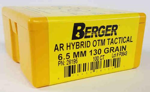Berger Hybrid OTM Tactical Bullets 6.5mm Caliber .264 Diameter 130 Grain