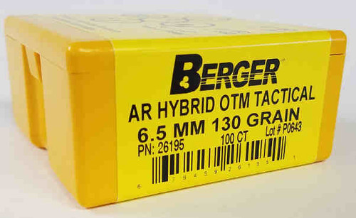 Berger Hybrid OTM Tactical Bullets 6.5mm Caliber .264 Diameter 130 Grain