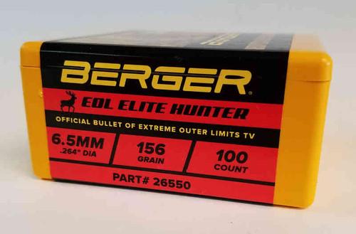 Berger EOL Elite Hunting Bullets 6.5mm Caliber .264 Diameter 156 Grain