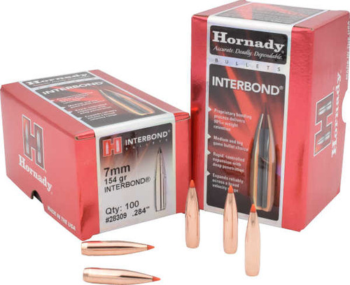 Hornady InterBond Bullets 7mm Caliber .284 Diameter 154 Grain