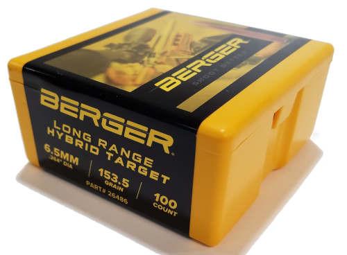 Berger LR Hybrid Target Bullets 6.5mm Caliber .264 Diameter 153.5 Grain