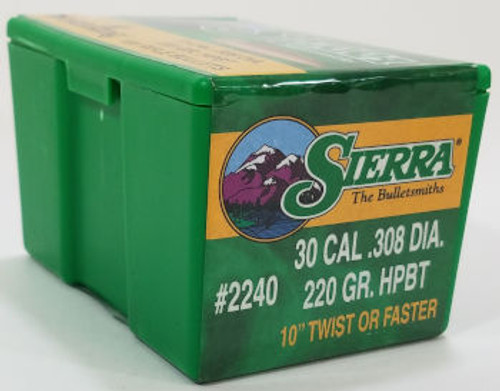 Sierra MatchKing Bullets 30 Caliber .308 Diameter 220 Grain